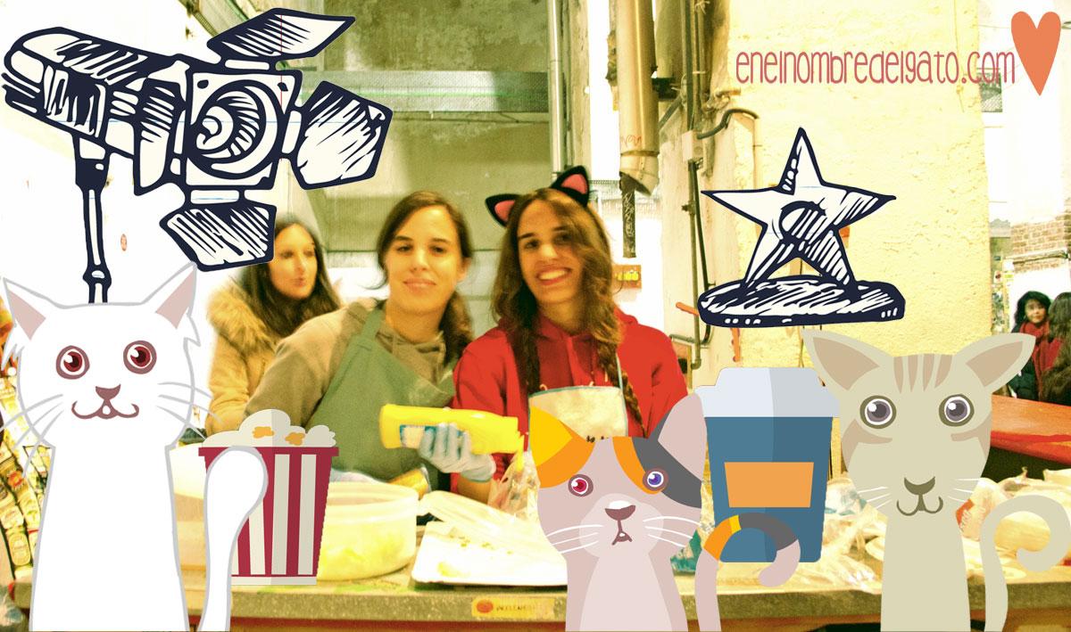 Camareras felinas sirven comida vegana en el Cat Film Festival de Madrid