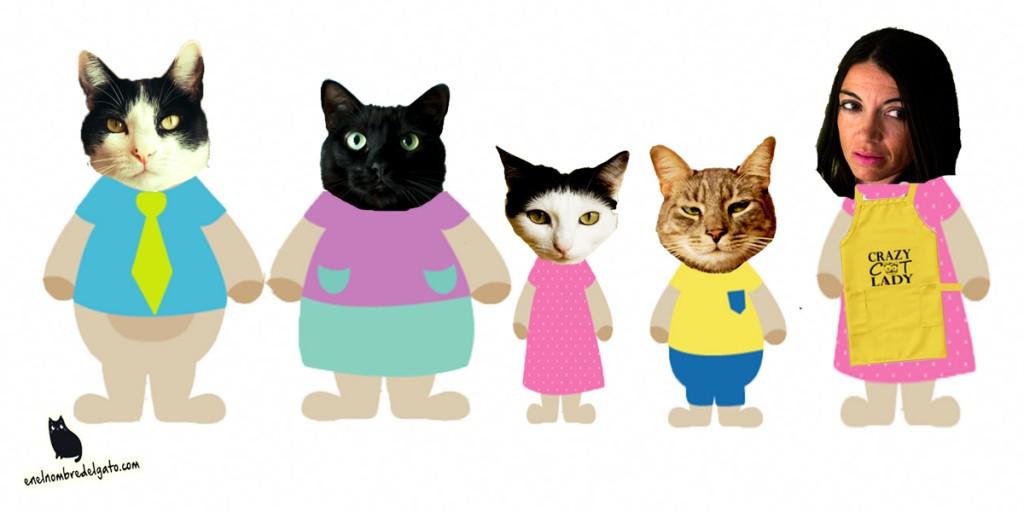 Familia gatuna y humana de En el Nombre del Gato