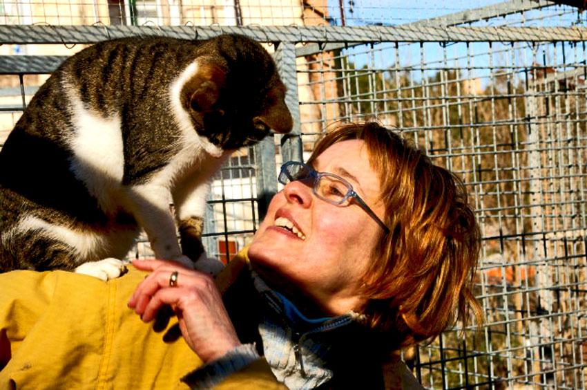 Agnès Dufau es una amantes de los gatos